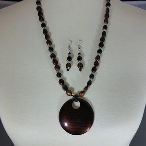 Bronze & Black Necklace & Earrings